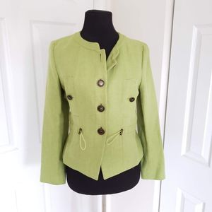 New Max Mara Size 4 Green Button Down Blazer